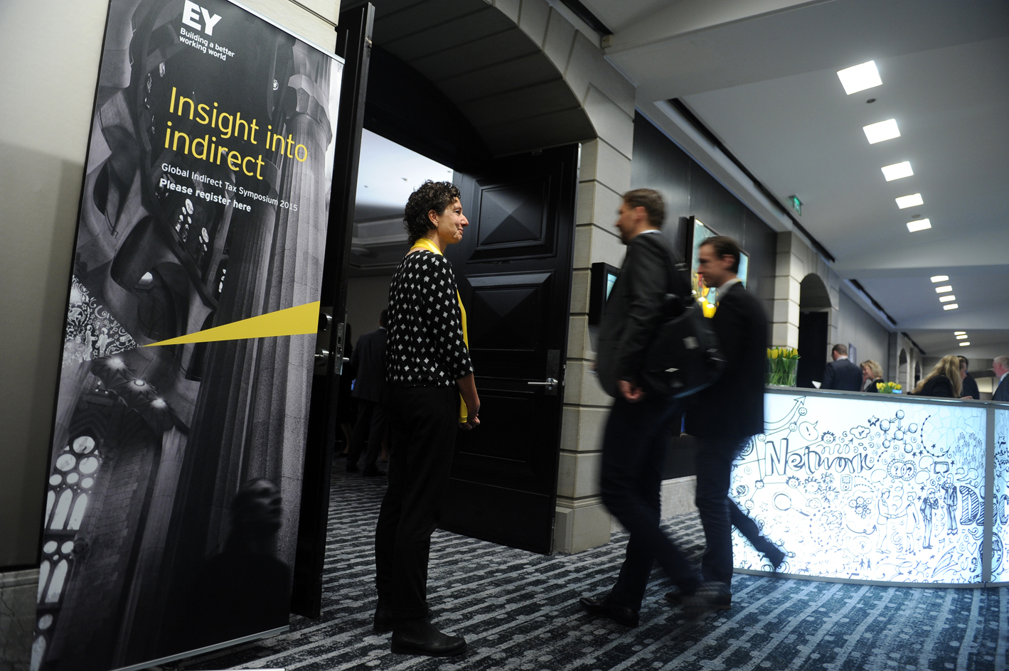 EY 'Insight into indirect' environmental graphics and info desk, Barcelona 2015
