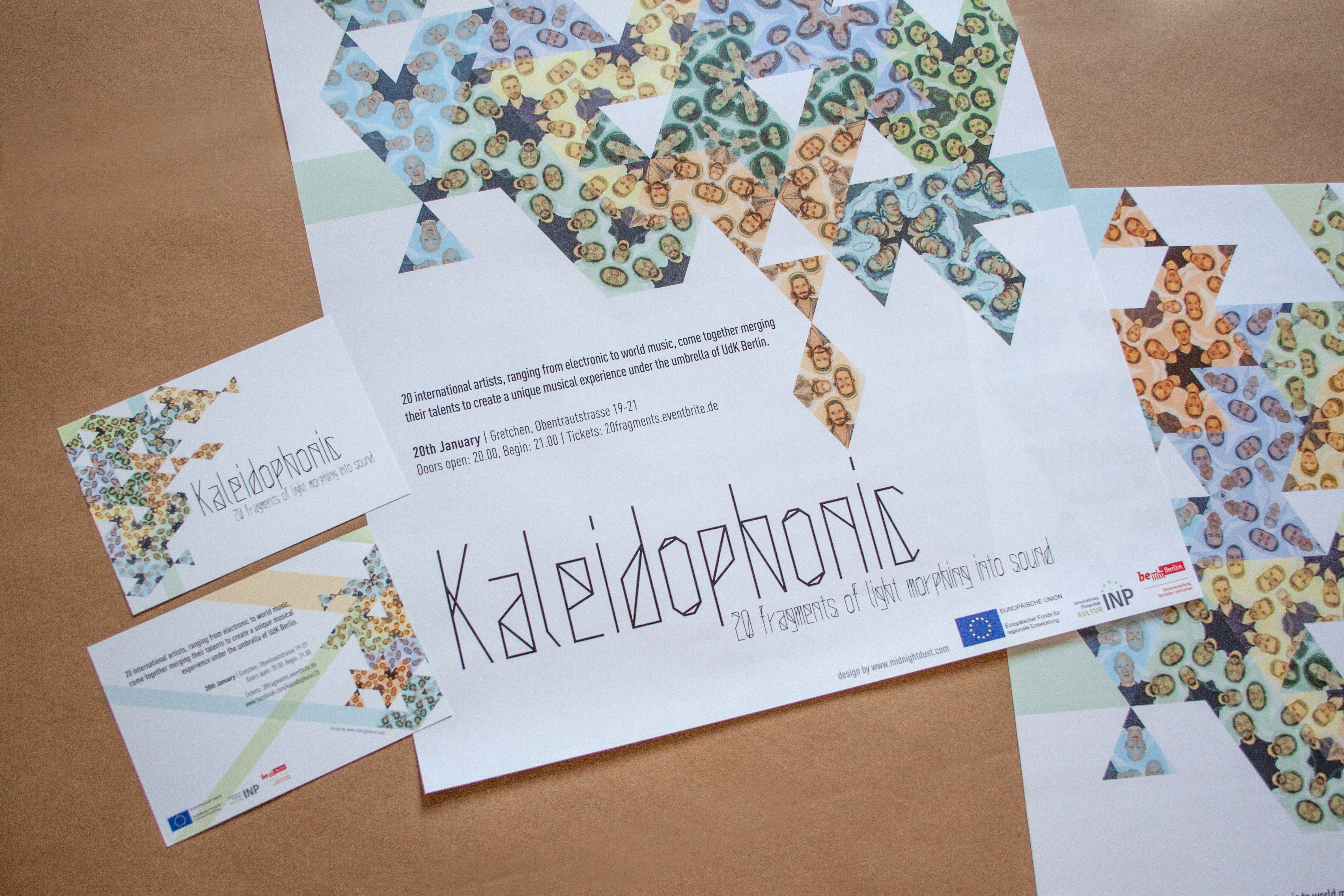 'Kaleidophonic' portrait photogrpahy, flyer and poster